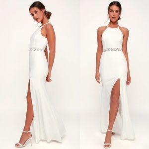 About Your Heart White Lace LuLus Maxi Dress M